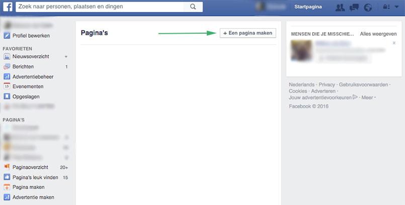 hoe facebook pagina maken