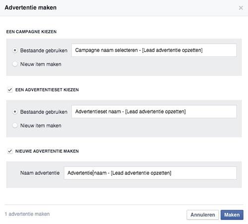 Facebook lead advertentie